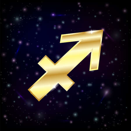 Golden Sagittarius zodiac sign  Stock Illustratie