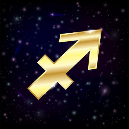 Golden Sagittarius zodiac sign  Illustration