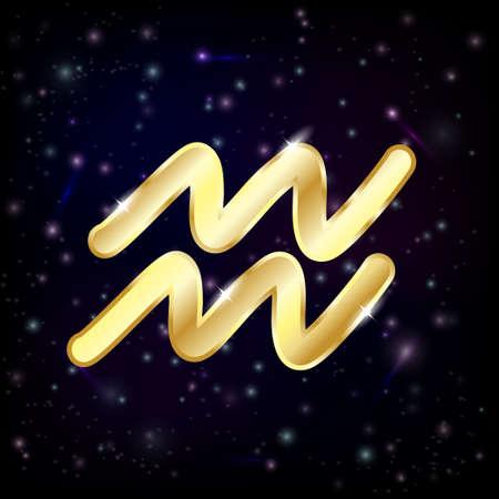Aquarius zodiac sign on starry sky background