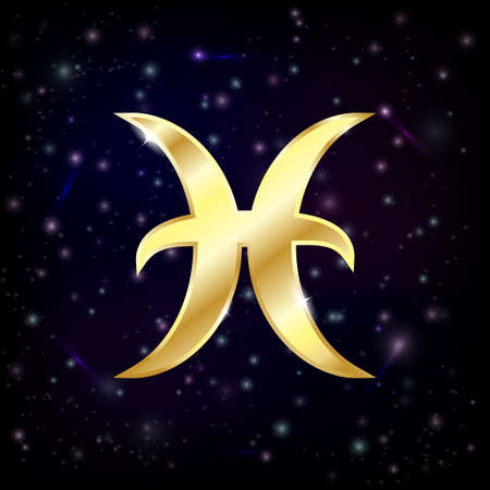 abstract aquarius: Gold Pisces sign on a starry sky background Illustration