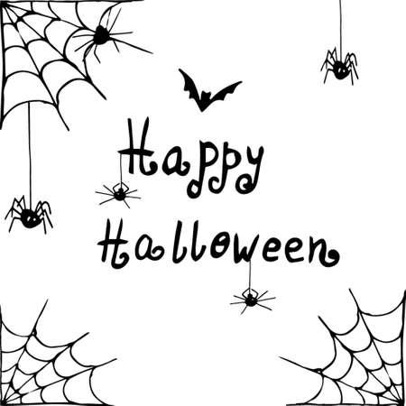 Vector Halloween achtergrond wit en zwart met spinnen handgetekende
