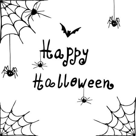 spider web: Vector Halloween background white and black with spiders hand drawn