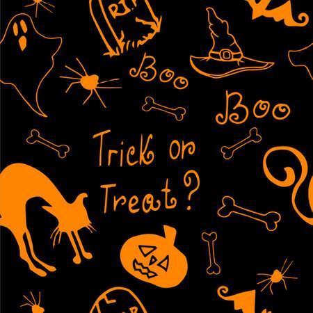 necropolis: Halloween seamless pattern orange and black with pumpkin, cat, bat, ghost bones
