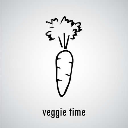 zanahorias: dibujado a mano de zanahoria ecológica vegetal orgánico ilustración del estilo del bosquejo Fondo del alimento.