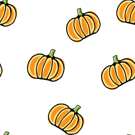 Seamless vector pattern, hand drawn pumpkin background.