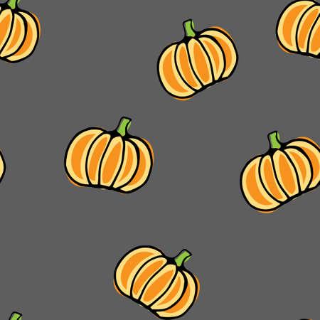 Seamless vector pattern, hand drawn pumpkin background on grey. Illustration
