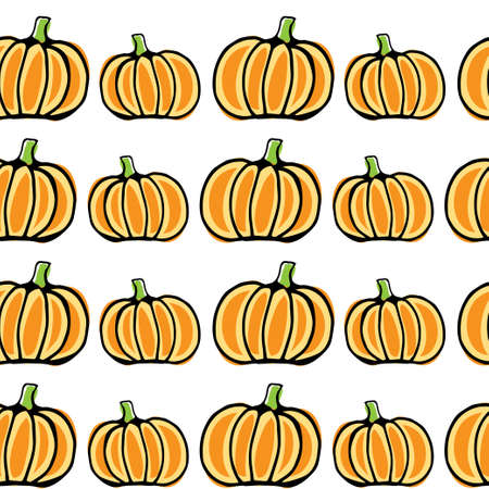 Seamless vector pattern, hand drawn pumpkin background.