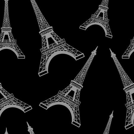 Seamless romantic valentine eiffel tower amour city background pattern in vector Ilustracja