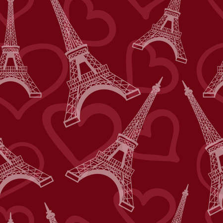 Seamless romantic valentine eiffel tower amour city background pattern in vector in red Vectores