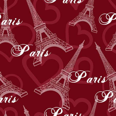 Seamless romantic valentine eiffel tower amour city background pattern in vector in red Çizim