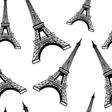 eiffel: Seamless romantic valentine eiffel tower amour city background pattern in vector in white Illustration