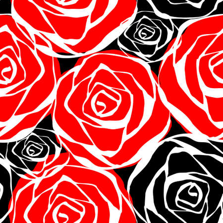 contours: Seamless pattern with roses contours red black and white Vector illustration