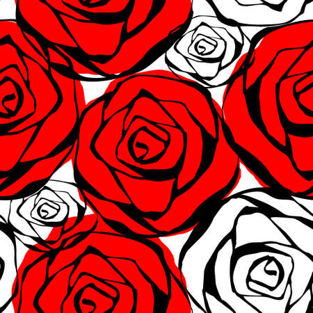 white background: Seamless pattern with roses contours red black and white Vector illustration
