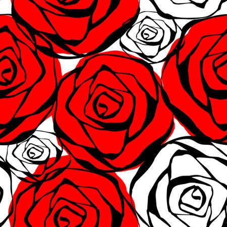 rosas negras: sin patrón, con rosas contornos blanco y negro ilustración vectorial