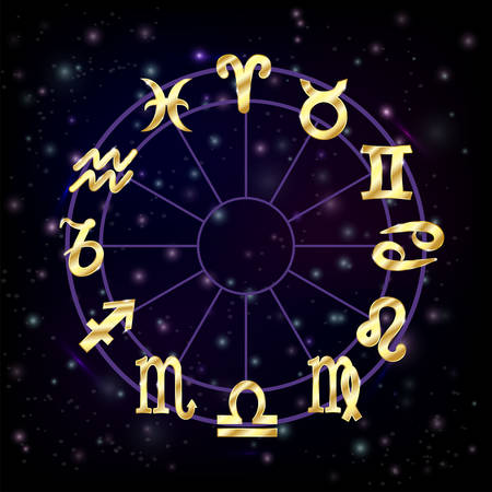 aries: C�rculo del zodiaco con signos del hor�scopo piscis escorpio aries zodiak acuario ilustraci�n vectorial virgo