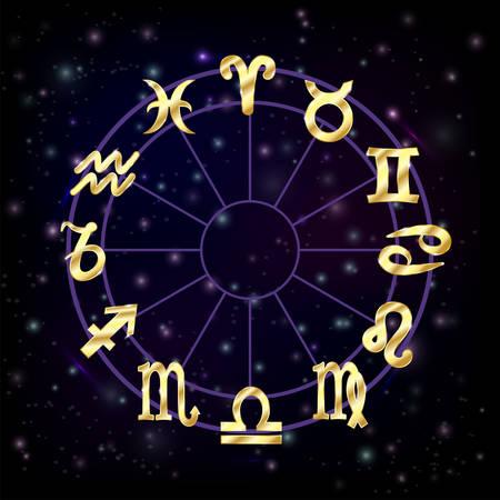 zodiak: Zodiac circle with horoscope signs pisces scorpio aquarius zodiak aries virgo Vector illustration