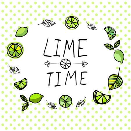 Lime tijd hand getekende patroon op een polka DAT achtergrond