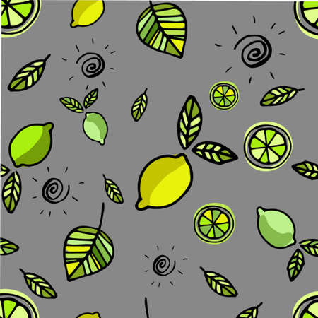 Seamless pattern with lemons hand drawn background