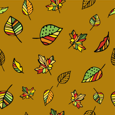Autumn pattern with leaves hand drawn on yellow