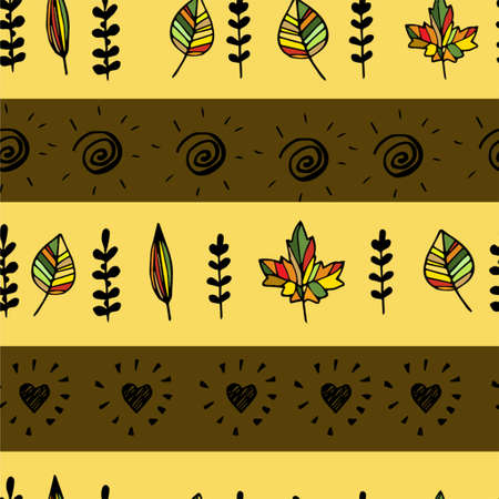 Autumn pattern with leaves hand drawn with hearts Ilustração