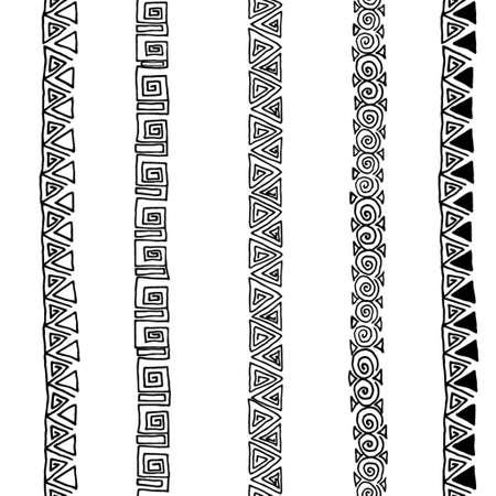 Vector seamless black and white  ethnic pattern hand drawn Illusztráció