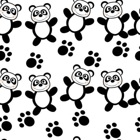 marsupial: Panda seamless with foot print on a white background for kids Illustration