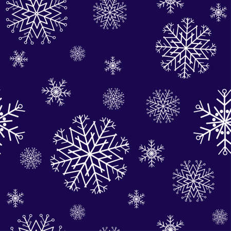 blue snowflakes: red seamless pattern with snowflakes on blue Illustration