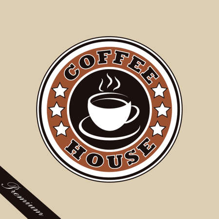 Coffee house logo in brown colors on a background