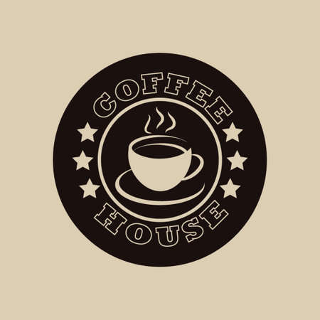 coffee beans: Coffee house logo in brown colors on a background