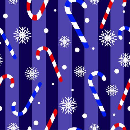 pinguinos navidenos: Navidad linda pingüinos sin patrón, con el bastón de caramelo en azul