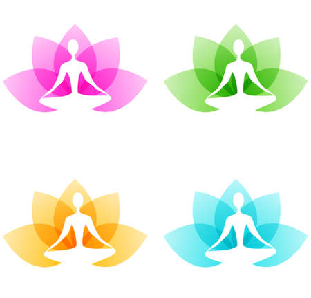 Yoga icons with lotus flower and person on a white background Çizim