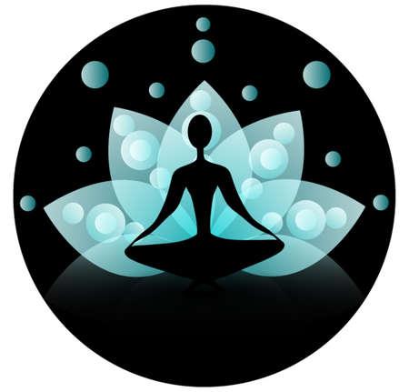 icono deportes: Icono de la yoga con loto azul sobre un fondo negro espiritual