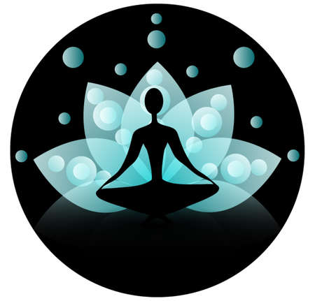 Yoga icon with blue lotus on a black background spiritual Çizim