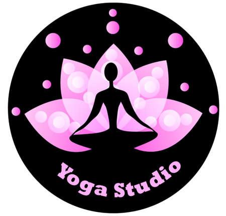 Yoga pictogram met blauwe lotus op een zwarte achtergrond spirituele voor yoga studio
