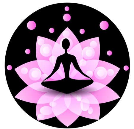 kundalini: Yoga icon with blue lotus on a black background spiritual for yoga studio