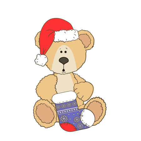 Christmas Teddy bear isolated on a white background with a christmas sock