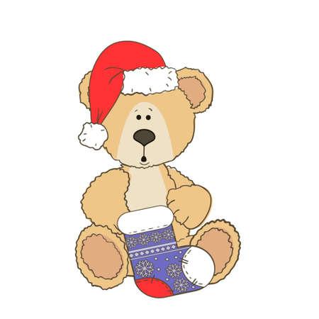 Teddy Ours de Noël isolé sur un fond blanc avec une chaussette de Noël
