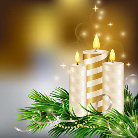 waxen: Christmas background with burning candles and Christmas tree