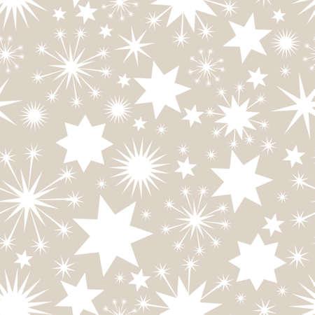spangle: Elegant Christmas seamless background with stars in white Illustration