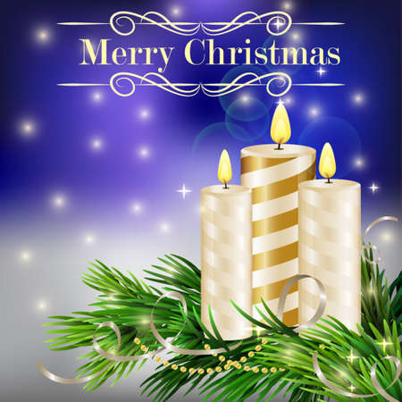 glimmered: Christmas background with burning candles and Christmas tree in blue Illustration