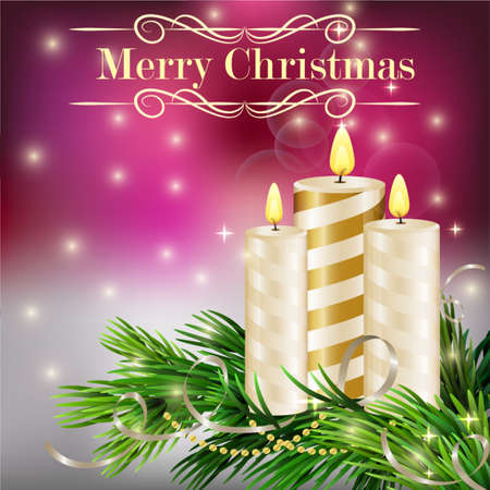 waxen: Christmas background with burning candles and Christmas tree in red