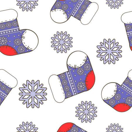 明るい靴下と白の雪の結晶のシームレスな冬クリスマス パターン ベクトル
