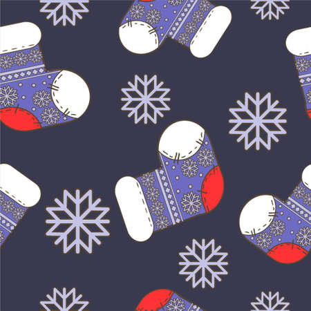 Vector seamless winter  Christmas pattern with bright  socks and snowflakes in blue Çizim