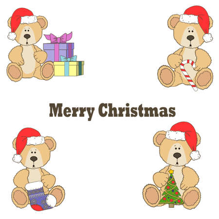 Christmas Teddy bears isolated on a white background with gifts tree sock and candy Ilustracja