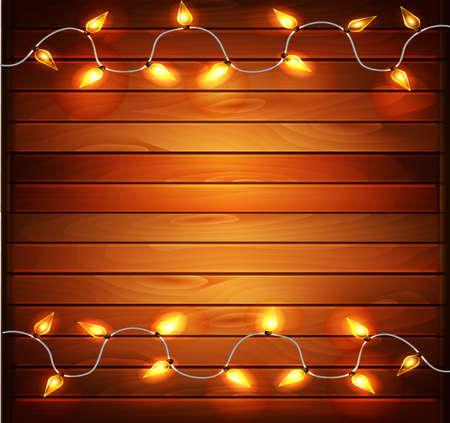 クリスマスとクリスマス正月デザインの木製の背景は、ガーランドを点灯します。ベクトル イラスト、eps10。