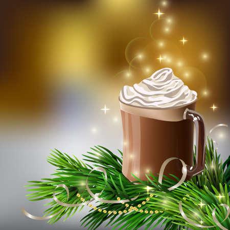 ホット チョコレートとクリスマス ツリー クリスマス正月デザインの木製の背景  イラスト・ベクター素材