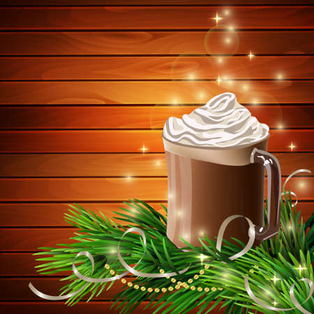 chocolate caliente: Christmas  New Year design wooden background with hot chocolate and christmas tree