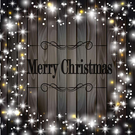 to present: Christmas frame on wooden background with snow and lights Illustration