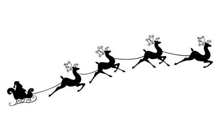 Santa Claus rides in a sleigh in harness on the reindeer Vectores
