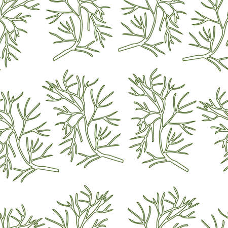 dill: Stylized dill seamless pattern on white background hand-drawn Illustration